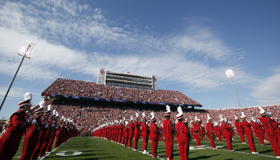 Photo - The Pride of Oklahoma plays before the Bedlam college football game between the University of Oklahoma Sooners (OU) and the Oklahoma State University Cowboys (OSU) at the Gaylord Family-Oklahoma Memorial Stadium on Saturday, Nov. 28, 2009, in Norman, Okla. Photo by Sarah Phipps, The Oklahoman