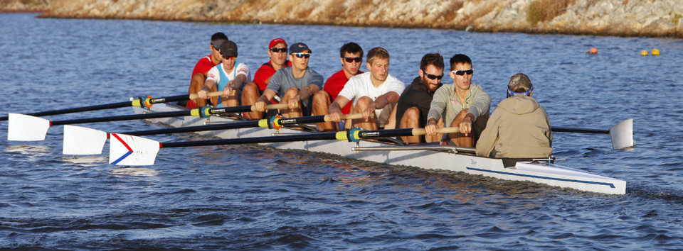 Robin Prendes, second from right sitting in the stroke seat, practicing for the Oklahoma Regatta on the Oklahoma River in Oklahoma City Tuesday, Oct. 1, 2013.  Photo by Paul B. Southerland, The Oklahoman