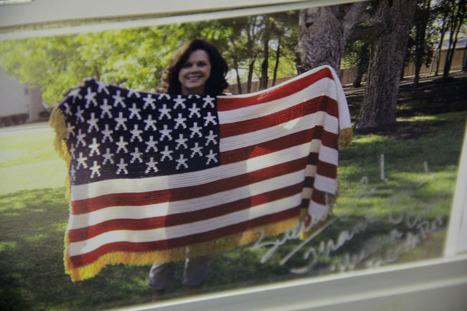 This photo shows one of many people who have thanked the incarcerated  veterans of the afghan flag project at the James Crabtree Correctional Center.  Photo by Darryl Golden, The Oklahoman