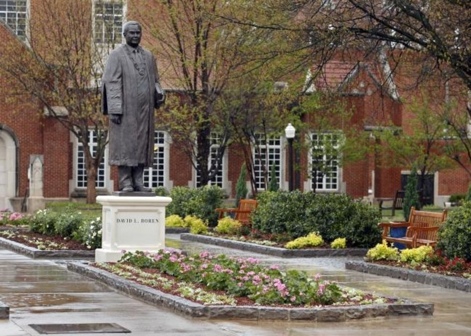 Photo -  This statue of University of Oklahoma President David L. Boren stands in a garden just west of the OU student union. [Steve Sisney/The Oklahoman]