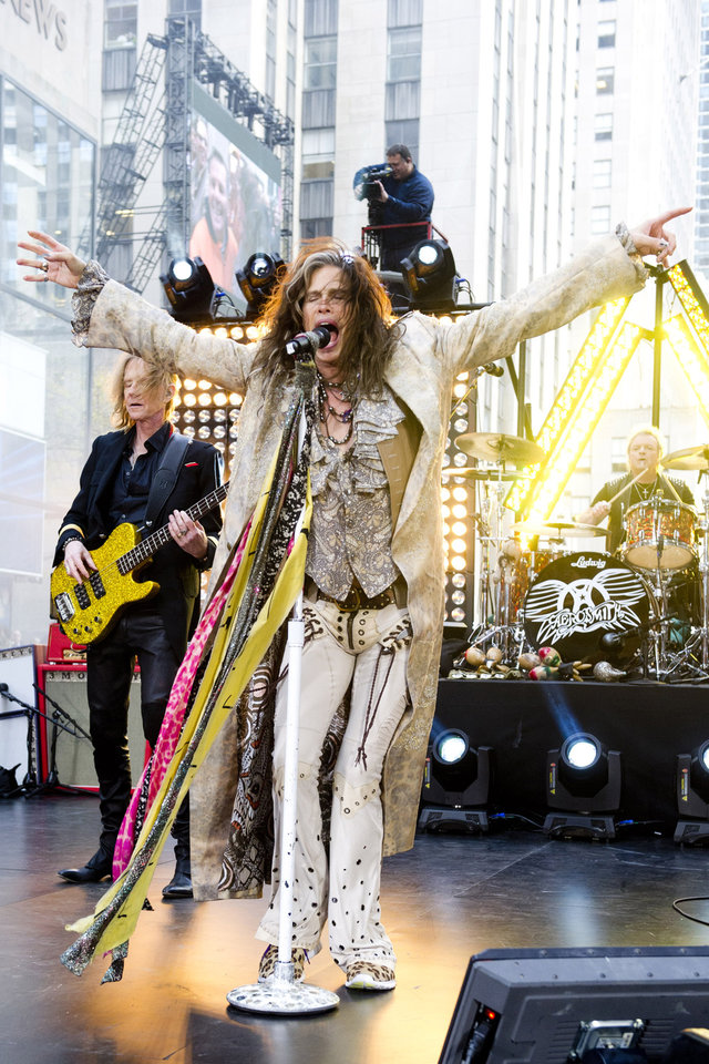 "FILE - In this Nov. 2, 2012 file photo, Steven Tyler of Aerosmith performs on NBC's ""Today"" show in New York. The former �American Idol� judge Tyler responded on Tuesday, Nov. 27, 2012, to Nicki Minaj's claim that he's a racist during an interview with the Canadian entertainment news program �eTalk� following Twitter comments made by Minaj, an �Idol� judge this season. (Photo by Charles Sykes/Invision/AP, File)"