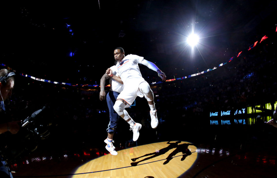 Photo - Oklahoma City's Russell Westbrook is introduced before an NBA basketball game between the Oklahoma City Thunder and the Phoenix Suns at Chesapeake Energy Arena in Oklahoma City, Friday, Oct. 28, 2016. Photo by Bryan Terry, The Oklahoman