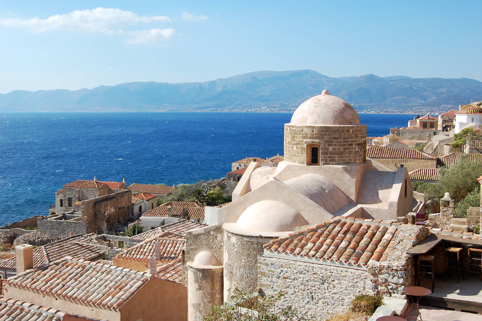 Photo - Monemvasia — built on a Gibraltar-like rock by the sea — is a fascinating mix of Venetian, Ottoman, and Byzantine cultures.  Photos by Rick Steves
