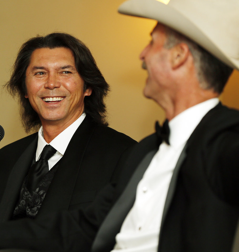 Co-emcees Lou Diamond Phillips, left and Wyatt McCrea laugh during the press conference before the Western Heritage Awards at the National Cowboy  & Western Heritage Museum in Oklahoma City, Saturday, April 20, 2013. Photo by Nate Billings, The Oklahoman