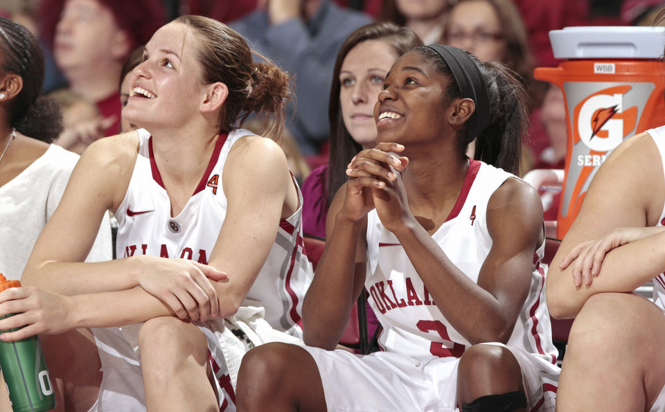 Oklahoma Sooners' Whitney Hand (25) and Oklahoma Sooners' Aaryn Ellenberg (3) watch the scoreboard as the sit out the final minutes in the second half as the University of Oklahoma (OU) Sooners defeated the Texas Christian University (TCU) Horned Frogs 82-54 in women's college basketball at the Lloyd Noble Center on Wednesday, Dec. 28, 2011, in Norman, Okla.  Photo by Steve Sisney, The Oklahoman