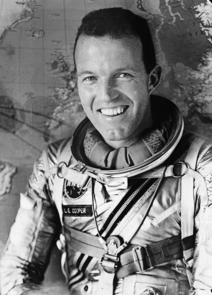 Photo - This is the official NASA photo of Leroy Gordon Cooper of Shawnee, OK, in his spacesuit after he was chosen as one of the original seven Mercury astronauts. (NASA)