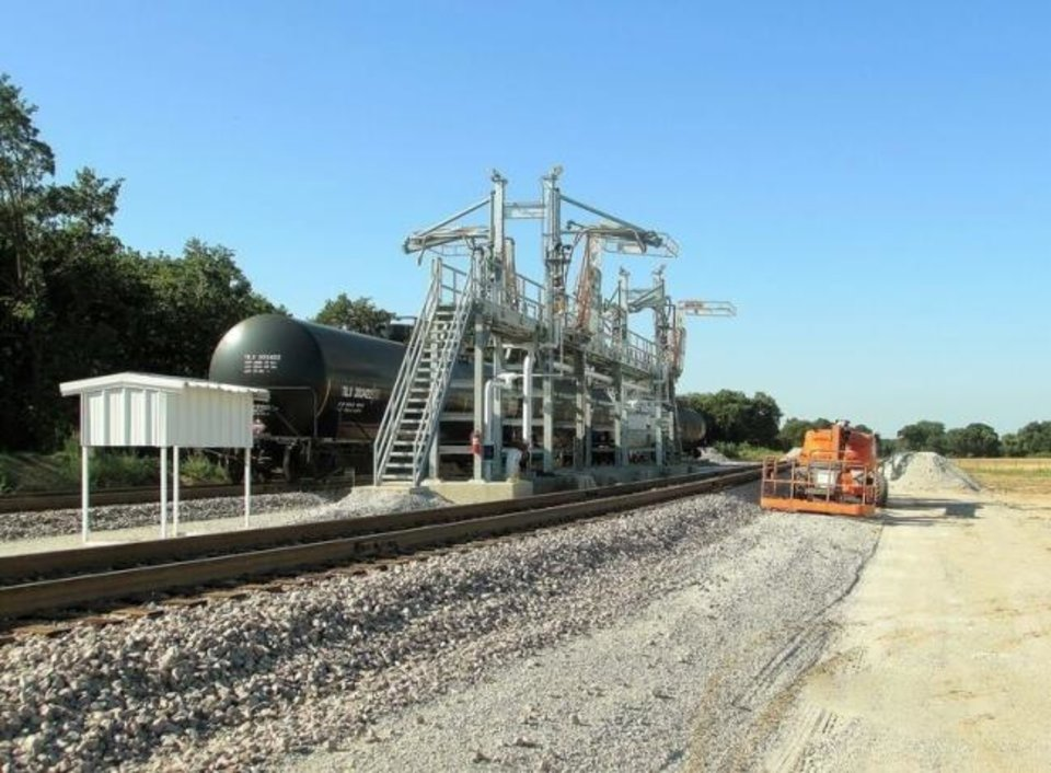 Photo -  A natural gas liquids rail terminal owned by NGL Energy Partners near Thackerville is pictured.