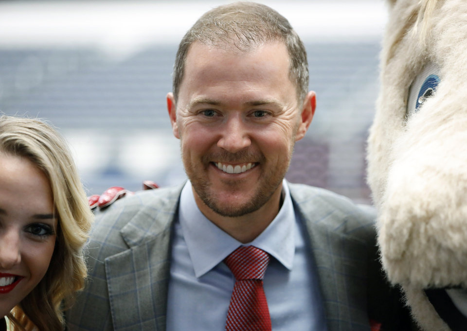 Photo - Oklahoma head coach Lincoln Riley poses for a picture on the first day of Big 12 Conference NCAA college football media days Monday, July 15, 2019, at AT&T Stadium in Arlington, Texas. (AP Photo/David Kent)