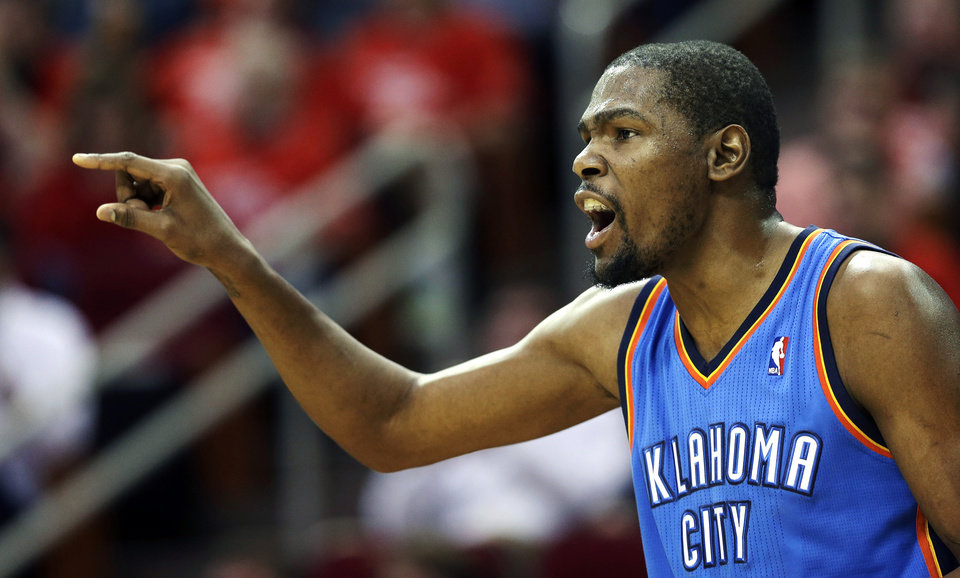Oklahoma City Thunder\'s Kevin Durant yells to his teammates during the first quarter of Game 4 in their first-round NBA basketball playoff series against the Houston Rockets Monday, April 29, 2013, in Houston. (AP Photo/David J. Phillip)