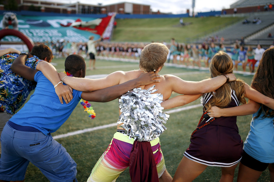 Edmond Memorial students gather before a high school football game against Lawton at Wantland Stadium in Edmond, Okla., Friday, Sept. 27, 2013. Photo by Bryan Terry, The Oklahoman