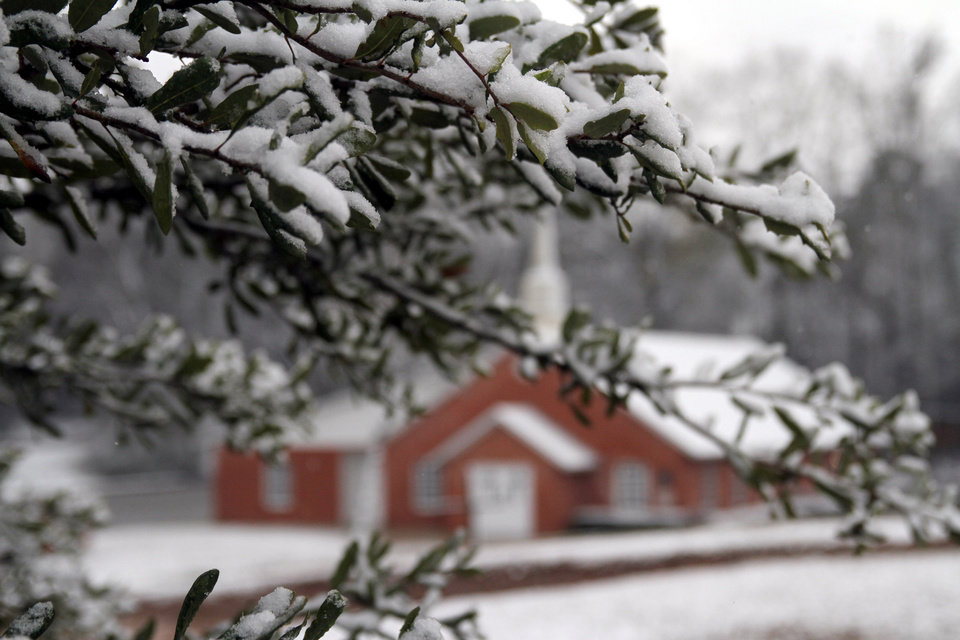 Snow lightly blankets a small tree near the New Era Baptist Church in Meridian, Miss., Thursday, Jan. 17, 2013. The early morning snow didn\'t last long as it was all gone before noon. (AP Photo/The Meridian Star, Paula Merritt)