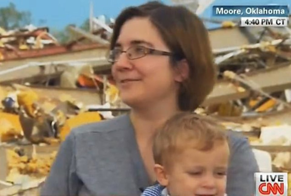 Photo - Rebecca Vitsmun is shown during an interview with a CNN reporter shortly after the May 20 tornado that destroyed her Moore home. Photo provided