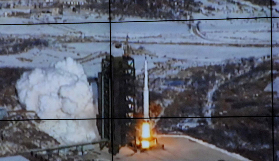 In this monitor screen image taken and released by the Korean Central News Agency and distributed in Tokyo by the Korea News Service, the Unha-3 rocket lifts off from a launch site on the west coast, in the village of Tongchang-ri, about 56 kilometers (35 miles) from the Chinese border city of Dandong, North Korea, Wednesday, Dec. 12, 2012. North Korea successfully fired a long-range rocket on Wednesday. (AP Photo/Korea Central News Agency via Korea News Service) JAPAN OUT UNTIL 14 DAYS AFTER THE DAY OF TRANSMISSION ORG XMIT: TOK823