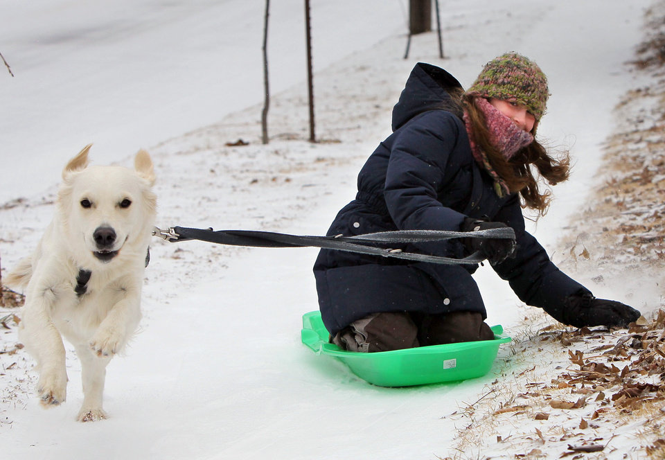 Photo - Mila Olias, 10, and her dog Momo take a sled run down a sidewalk Sunday, March 2, 2014, in Richmond Heights, Mo. A winter storm packing high winds, ice and heavy snow threatened to create hazardous driving conditions across Kansas and Missouri, accompanied by wind chills approaching 25 below zero in some areas. (AP Photo/St. Louis Post-Dispatch, David Carson)