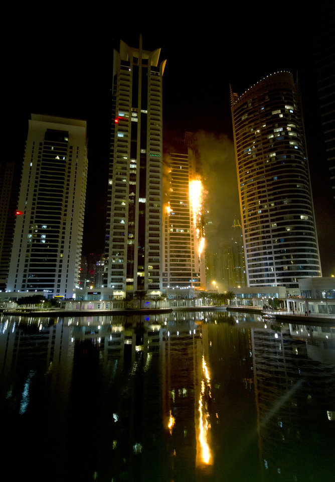 Photo -   Flames engulf a portion of Tamweel residential tower at Jumeirah Lakes Towers, in Dubai, United Arab Emirates, Sunday, Nov. 18, 2012. Civil defense officials did not give immediate details on possible casualties or the cause of the predawn fire. (AP Photo/Kaveh Kashani)