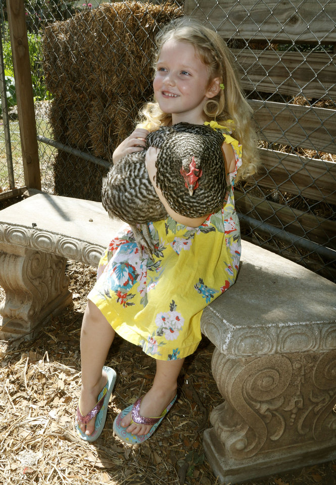Photo -  Katherine McCoy, 5, plays with the chickens in the backyard garden of Sara and David Braden in Oklahoma City. Photo by Paul Hellstern, The Oklahoman   PAUL HELLSTERN -