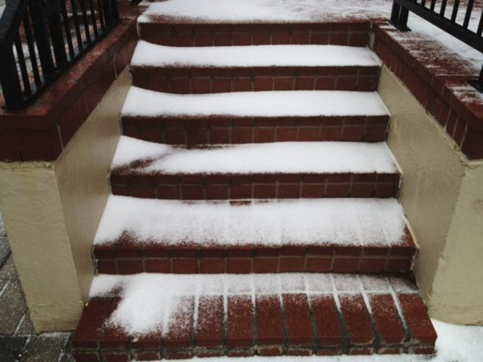 Snow on steps at St. Joseph Old Cathedral in downtown OKC