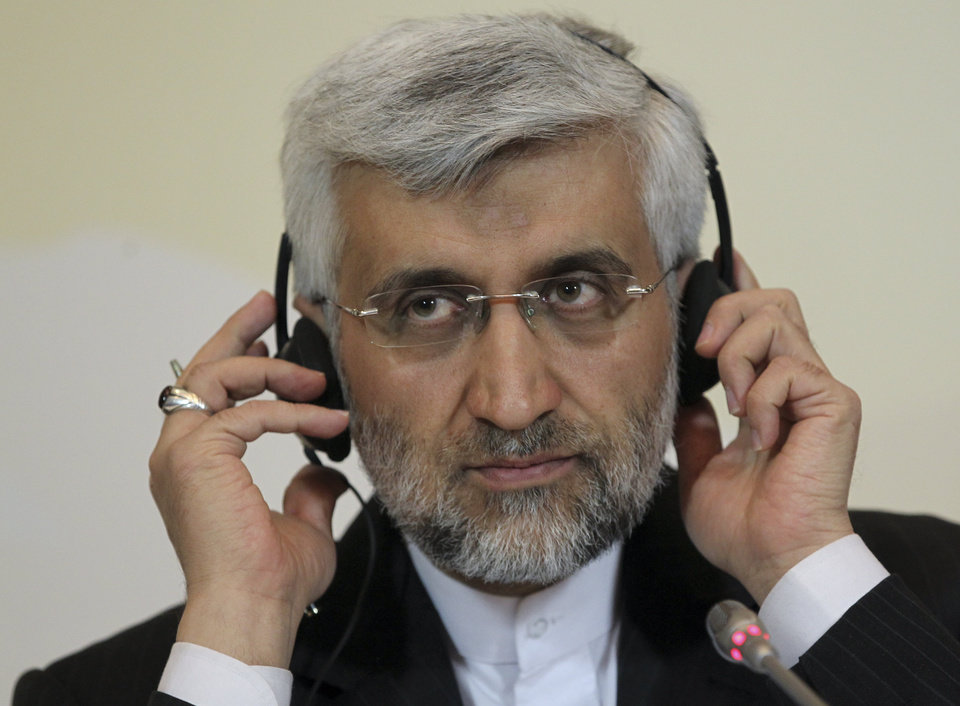 Secretary of Iran's Supreme National Security Council, Saeed Jalili listens to a question during his news conference after the high-level talks between world powers and Iranian officials in Almaty, Kazakhstan, Saturday, April 6, 2013. Iran and six world powers failed to reach agreement Saturday on a common approach to reducing fears that Tehran might misuse its nuclear technology to make weapons, with the EU's foreign policy chief declaring that the to sides ''remain far apart on substance.'' (AP Photo/Pavel Mikheyev)