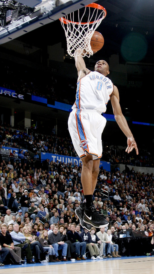 Russell Westbrook of Oklahoma City dunks the ball during the NBA basketball game between the Oklahoma City Thunder and the New Orleans Hornets at the Ford Center in Oklahoma City on Friday, Nov. 21, 2008.  BY BRYAN TERRY, THE OKLAHOMAN