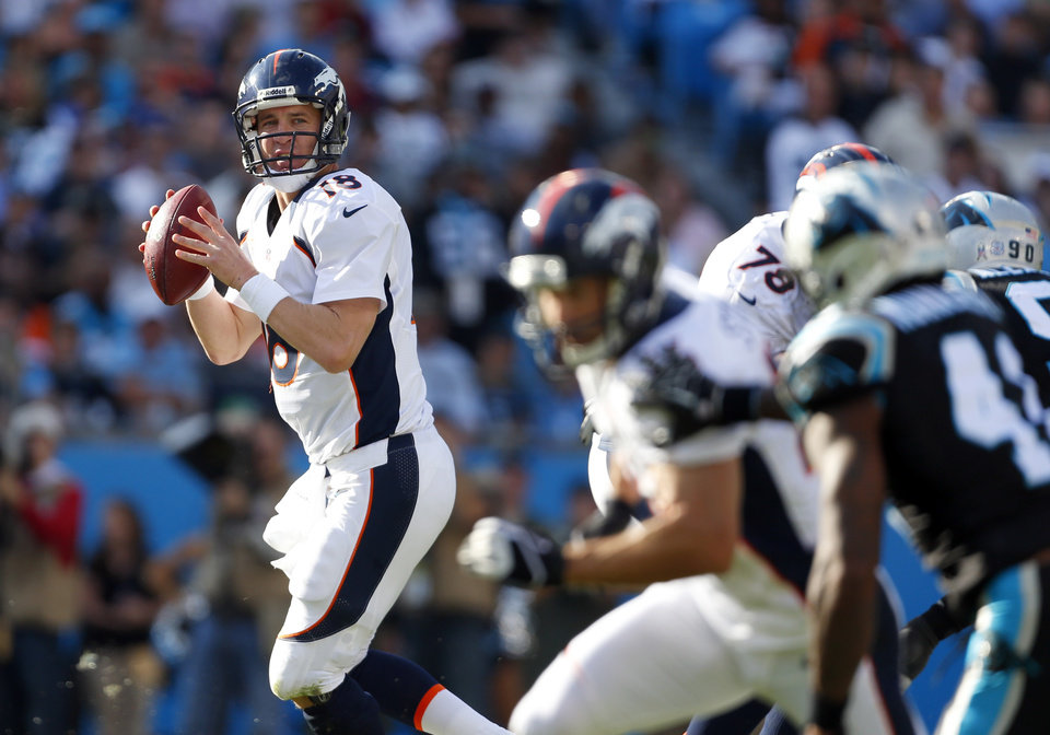 Photo -   Denver Broncos' Peyton Manning (18) looks to pass against the Carolina Panthers during the first half of an NFL football game in Charlotte, N.C., Sunday, Nov. 11, 2012. (AP Photo/Bob Leverone)