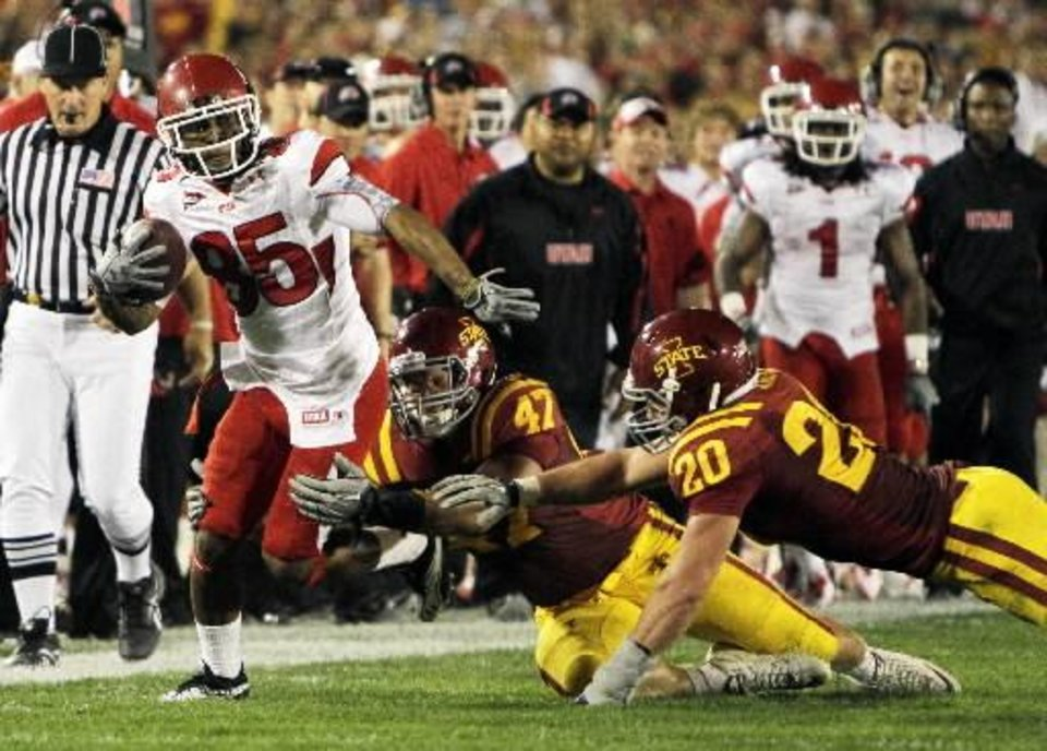 n this Oct. 9, 2010, file photo, Utah wide receiver Jereme Brooks, left, looks to break a tackle by Iowa State linebackers A.J. Klein (47) and Jake Knott during the first half of an NCAA college football game in Ames, Iowa. Knott and Klein have been at the forefront of Iowa State's revival. Now considered one of the nation's top linebacking duos, they have spearheaded a defense that's averaging less than 11 points allowed per game during a 3-0 start for the Cyclones. (AP Photo/Charlie Neibergall)