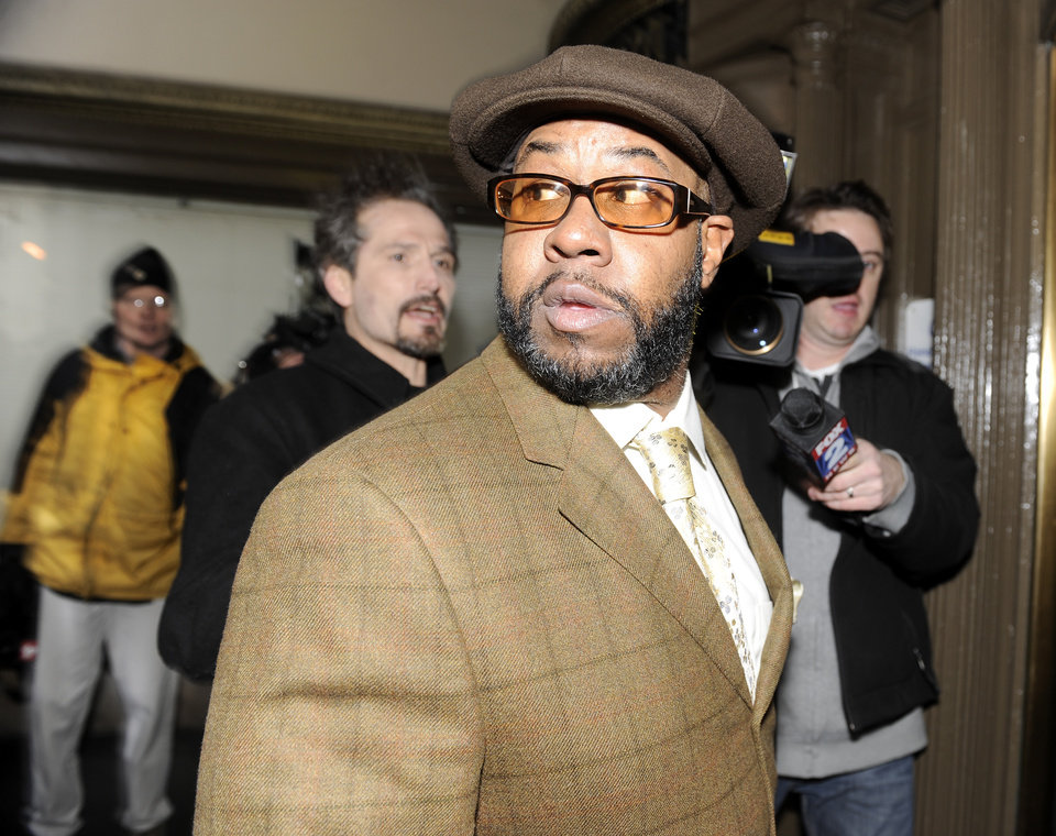 Bobby Ferguson, a friend of former Detroit Mayor Kwame Kilpatrick, leaves federal court after being found guilty, in Detroit on Monday, March 11, 2013. Ferguson has been convicted of a federal racketeering conspiracy charge. (AP Photo/The  Detroit News, David Coates)