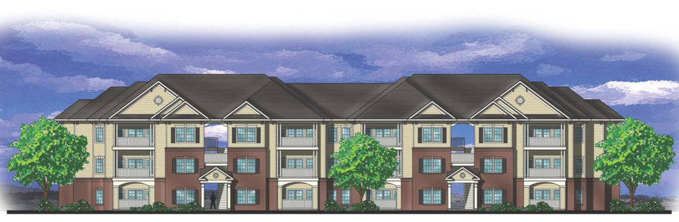The drawing by Tulsa-based Parker Associates Architects shows what will be a typical front elevation of buildings at Liberty Pointe Apartments.  DRAWING PROVIDED BY GARDNER TANENBAUM HOLDINGS
