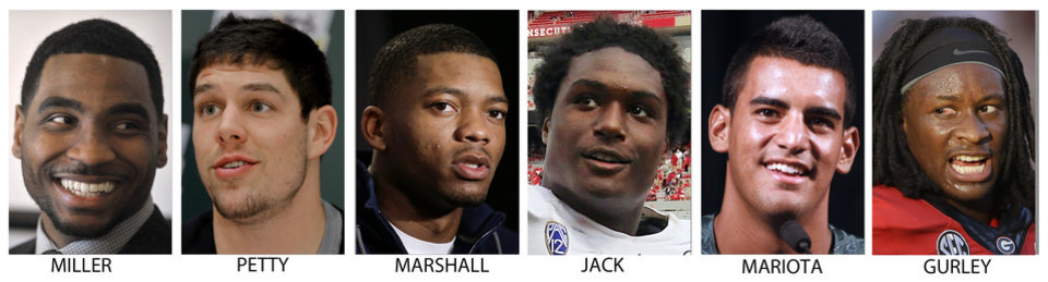 Photo - FILE - From left are file photos showing college football players Braxton Miller, Ohio State; Bryce Petty, Baylor; Nick Marshall, Auburn; Myles Jack, UCLA; Marcus Mariota, Oregon and Todd Gurley, Georgia. Six players that have a chance of taking home the Heisman trophy. (AP Photo/File)