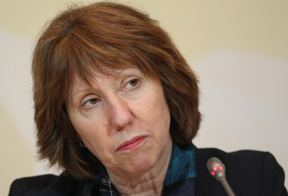 EU foreign policy chief Catherine Ashton listens to a question during her news conference after the high-level talks between world powers and Iranian officials in Almaty, Kazakhstan, Saturday, April 6, 2013. Iran and six world powers failed to reach agreement Saturday on a common approach to reducing fears that Tehran might misuse its nuclear technology to make weapons, with the EU's foreign policy chief declaring that the to sides ''remain far apart on substance.'' (AP Photo/Pavel Mikheyev)