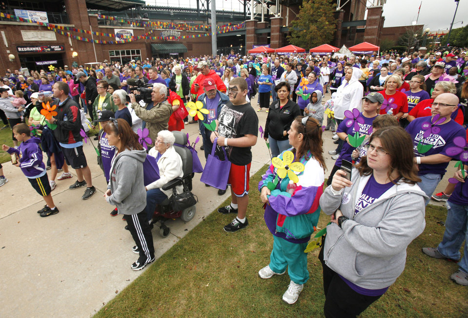 Walkers get ready to begin the 2012 Oklahoma City Walk to End Alzheimer\'s at Bricktown Ballpark in Oklahoma City, OK, Saturday, September 15, 2012, By Paul Hellstern, The Oklahoman