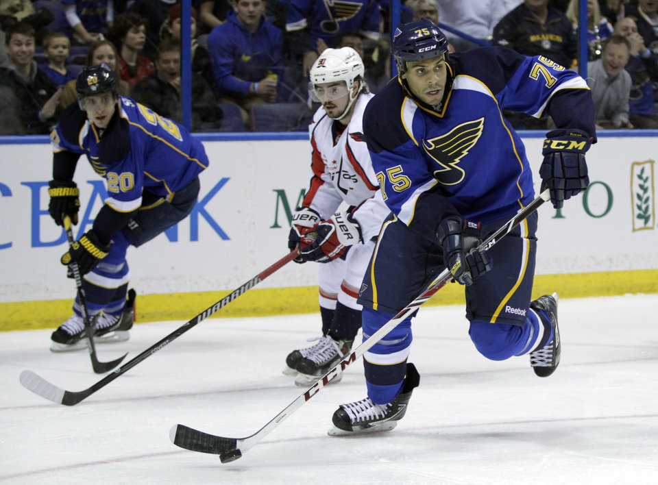 Photo - St. Louis Blues' Ryan Reaves (75) looks to pass the puck during the second period of an NHL hockey game against the Washington Capitals, Tuesday, April 8, 2014, in St. Louis.(AP Photo/Tom Gannam)