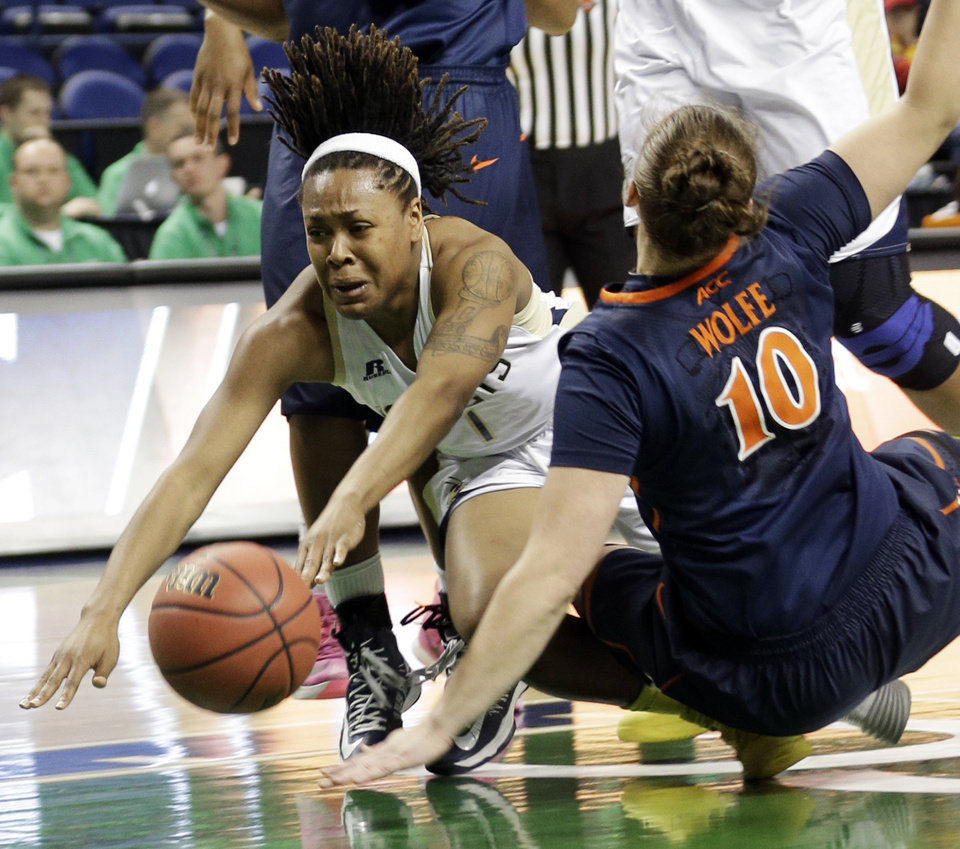 Photo - Georgia Tech's Dawnn Maye, left, loses the ball as she trips over Virginia's Kelsey Wolfe (10) during the first half of an NCAA college basketball game at the Atlantic Coast Conference tournament in Greensboro, N.C., Thursday, March 6, 2014. (AP Photo/Chuck Burton)