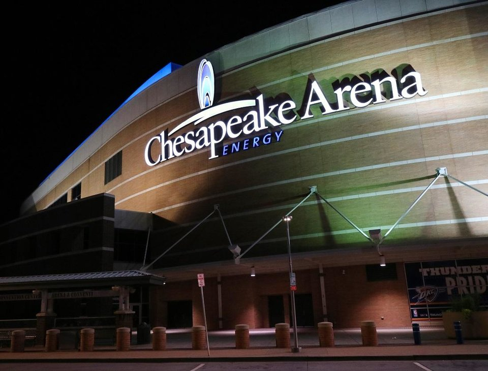 Photo - The exterior of Chesapeake Energy Arena is shown at night, Wednesday, June 10, 2015. [Doug Hoke/The Oklahoman Archives]
