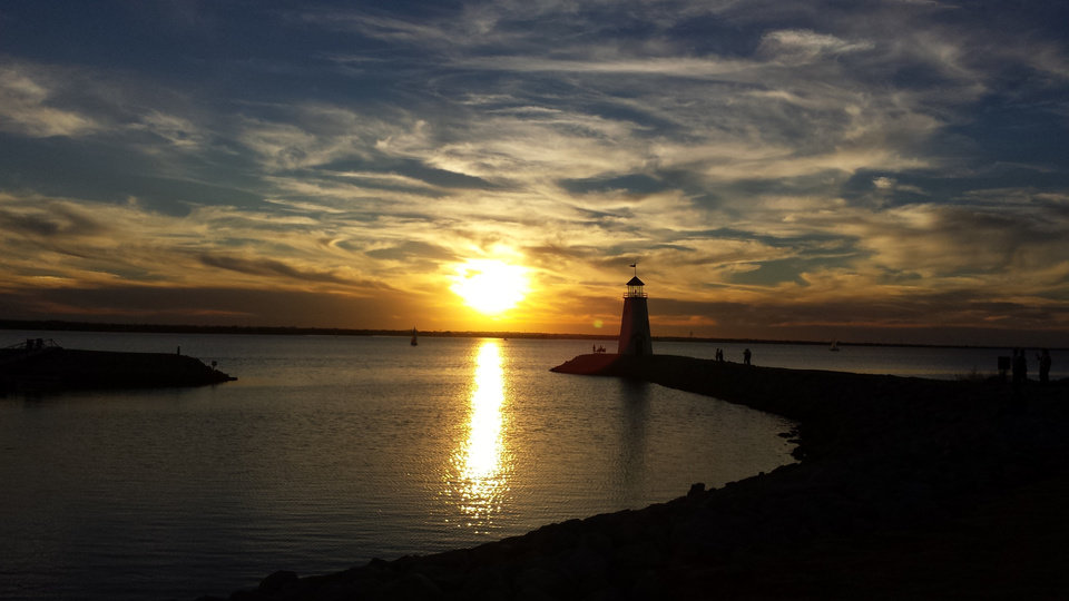 Sunset at lake Hefner yesterday, while jogging. Photo by Daniel Ingram