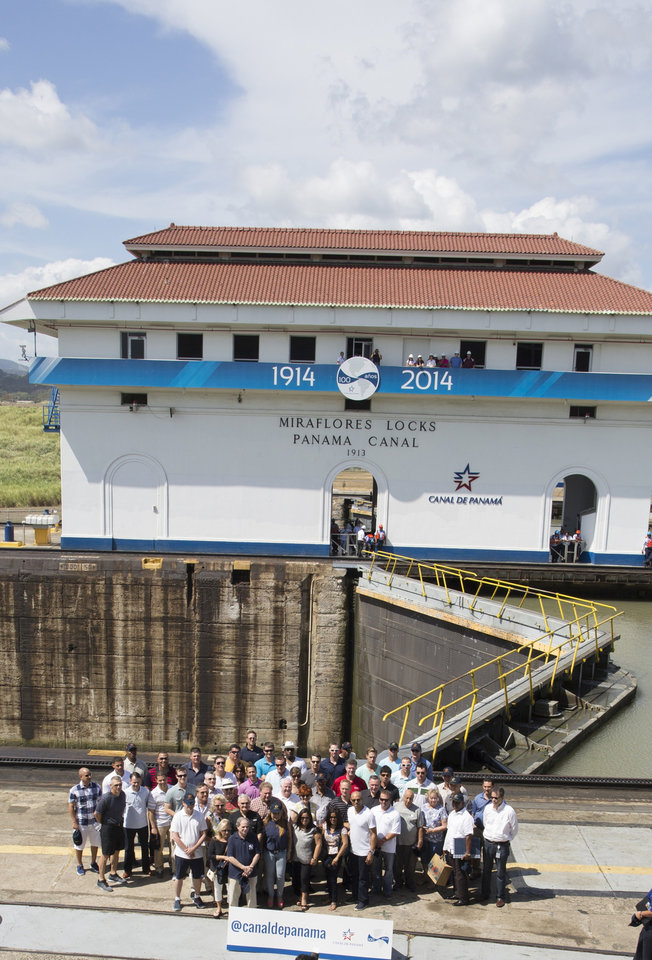 Photo - New York Yankees baseball players, staff members and companions pose for a photo during a visit to the Miraflores Locks at the Panama Canal in Panama City, Friday, March 14, 2014. The New York Yankees and the Miami Marlins will play on March 15-16, in the