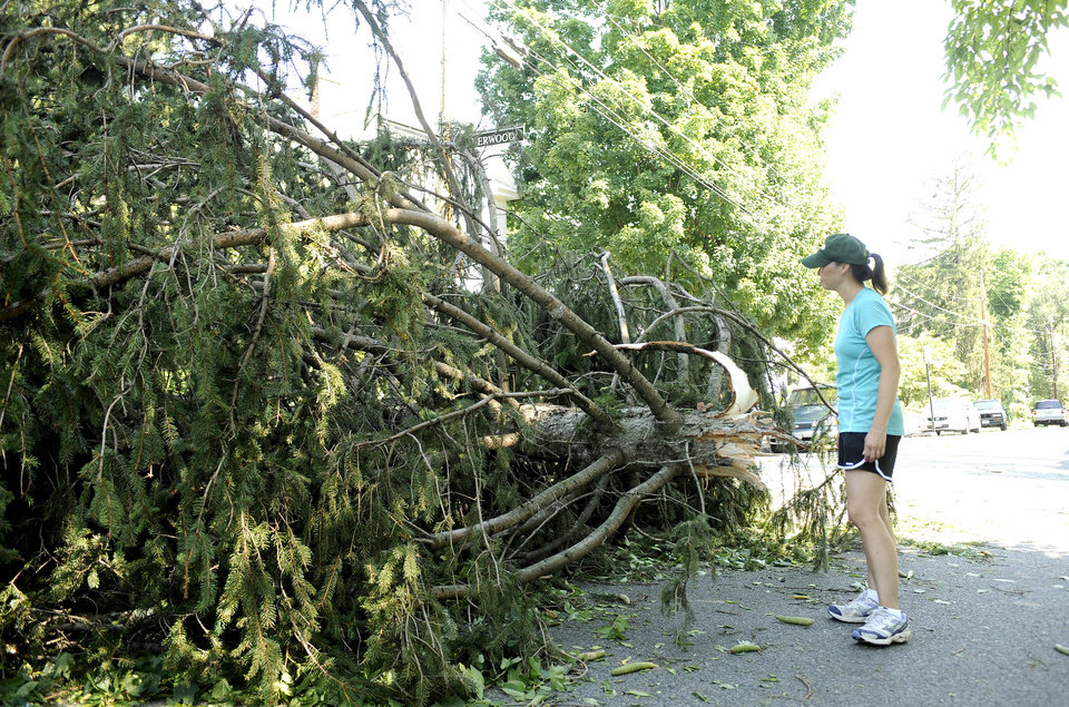 Photo -   Mia Kivlighan inspects damage to a tree that fell outside her home on Sherwood Avenue on Saturday, June 30, 2012 in Staunton, Va. Violent storms swept across the eastern U.S., killing at least nine people and knocking out power to hundreds of thousands on a day that temperatures across the region are expected to reach triple-digits. (AP Photo/The News Leader, Pat Jarrett)