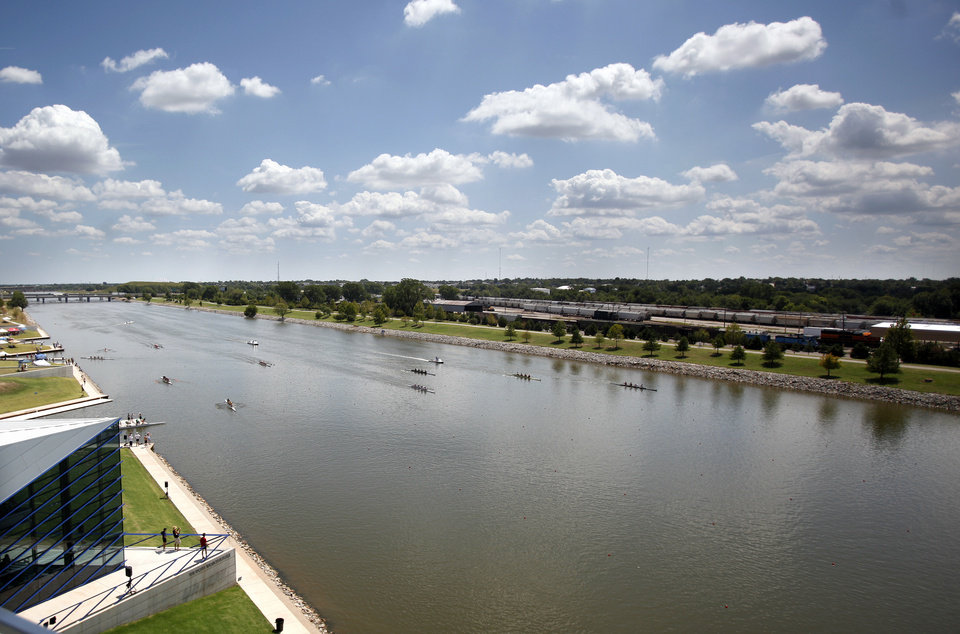 Rowers compete during the USRowing Masters National Championships on the Oklahoma River, Sunday, Aug. 14, 2011. Photo by Sarah Phipps, The Oklahoman