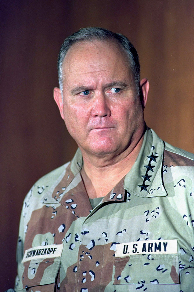Photo - Gen. H. Norman Schwarzkopf, commander of the allied forces in Operation Desert Storm, is shown in this 1991 photo. Schwarzkopf, who rose to fame as the leader of the lightning quick dismantling of Saddam Hussein's forces in the first Gulf War, is laid to rest at the U.S. Military Academy at West Point Thursday Feb. 28, 2013.   (AP Photo)