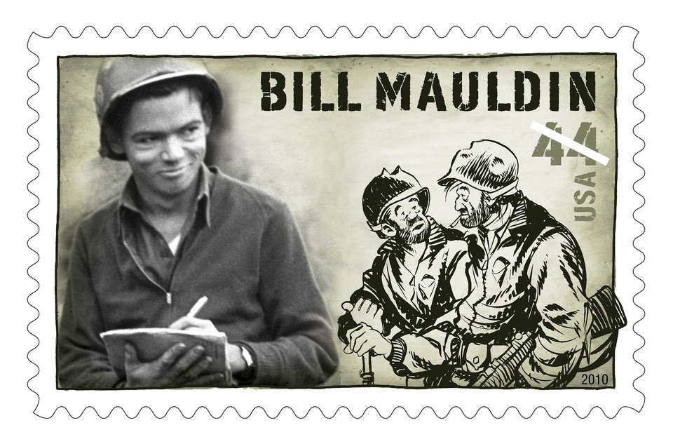 This stamp honoring Bill Mauldin will be on sale in March.  Provided by U.S. Postal Service