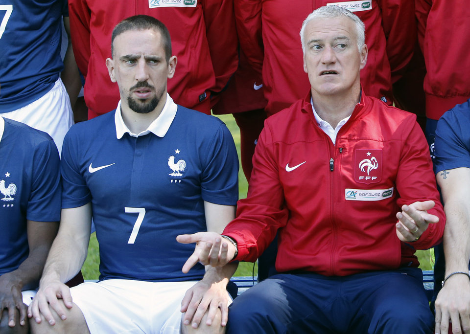 Photo - France's forward Franck Ribery,  left, and head coach Didier Deschamps pose for the team picture at the French national football team's training base, in Clairefontaine, outside Paris, Friday, June 6, 2014 as part of France's national football team's preparation for the upcoming FIFA 2014 World Cup in Brazil. (AP Photo/Francois Mori)