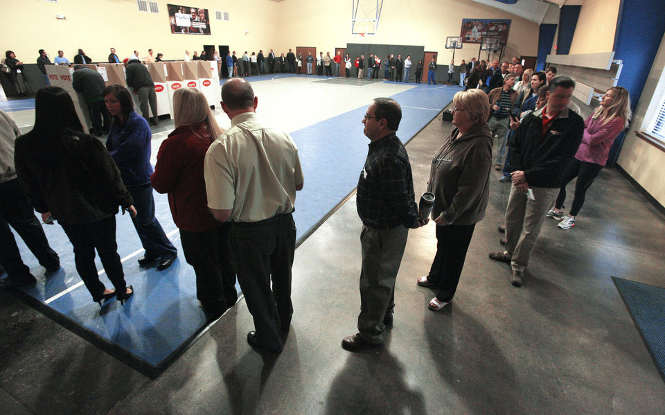 A line of voters winds around a gymnasium Tuesday at Precinct 137 in  Oklahoma City.  Photo by  Paul B. Southerland, The Oklahoman