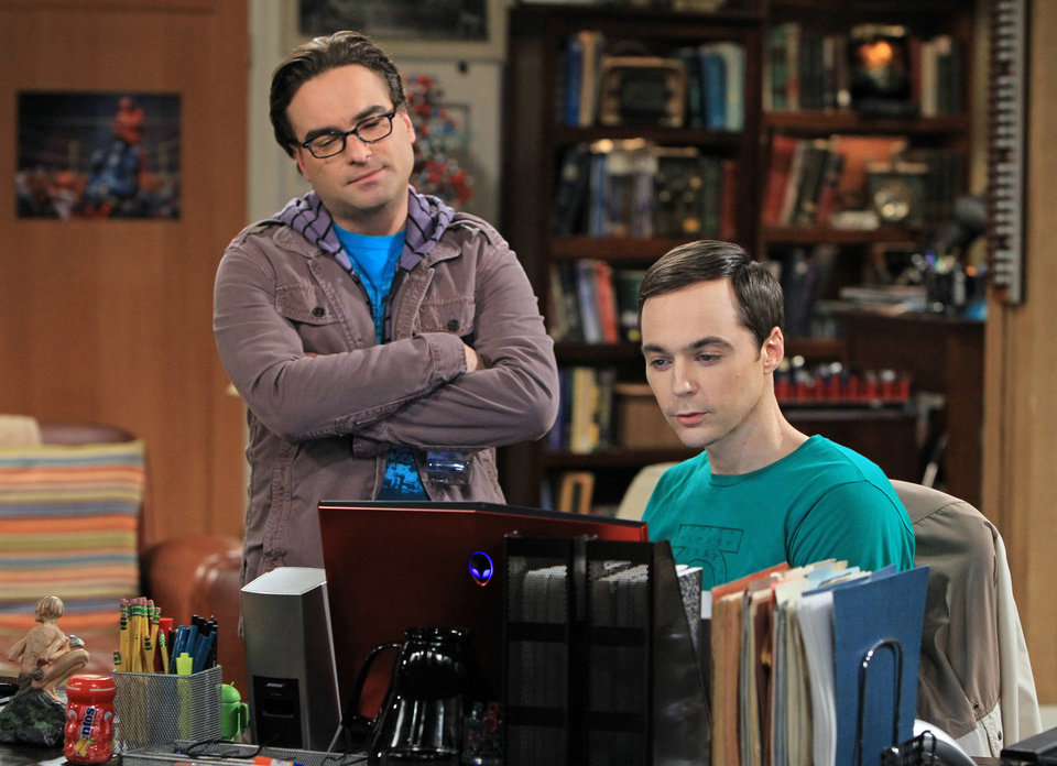 Photo - This image released by CBS shows Johnny Galecki, left, and Jim Parsons in a scene from