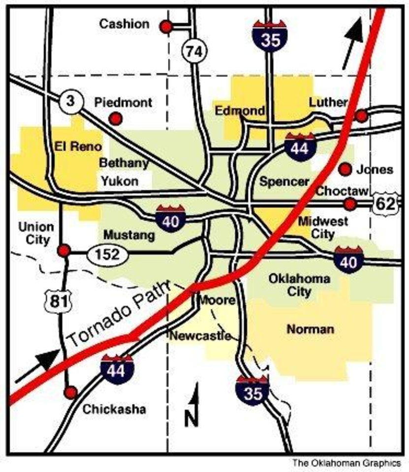 MAY 3, 1999 TORNADO: Tornado path map