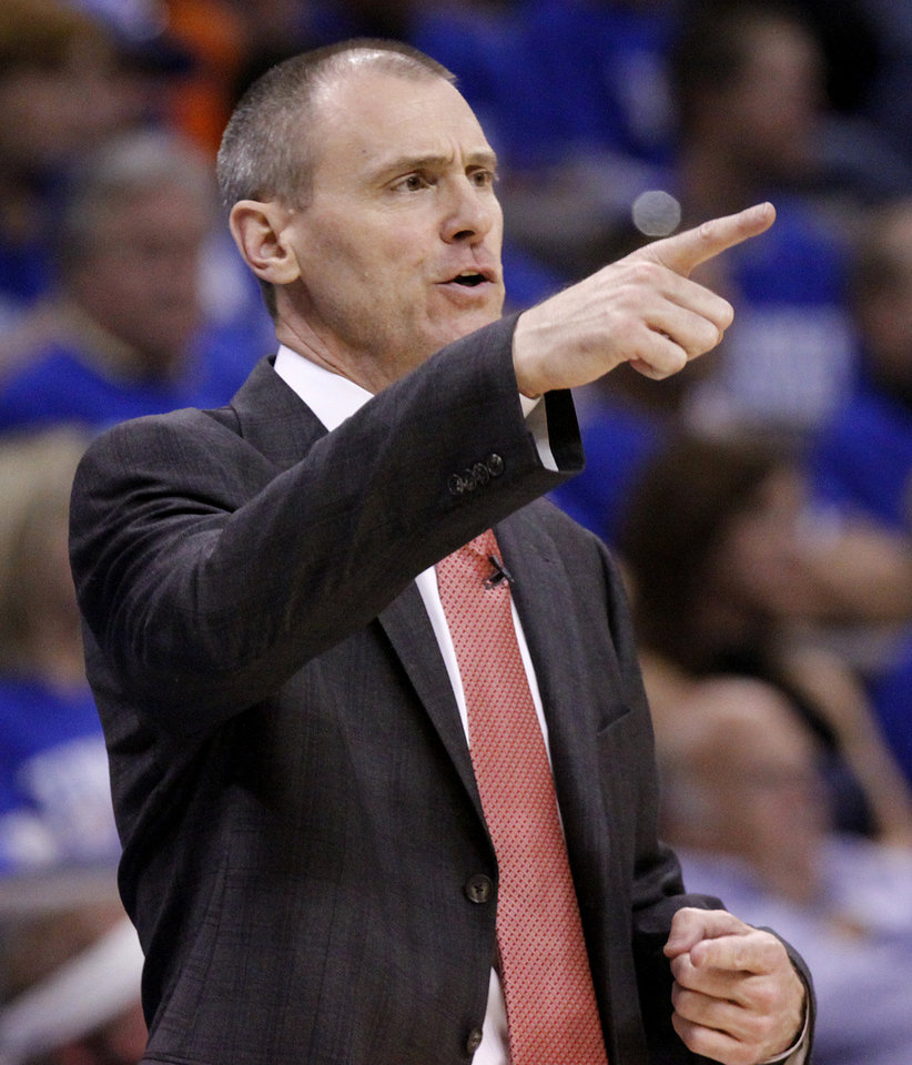 Dallas coach Rick Carlisle calls in a play during game 3 of the Western Conference Finals of the NBA basketball playoffs between the Dallas Mavericks and the Oklahoma City Thunder at the OKC Arena in downtown Oklahoma City, Saturday, May 21, 2011. Photo by Chris Landsberger, The Oklahoman