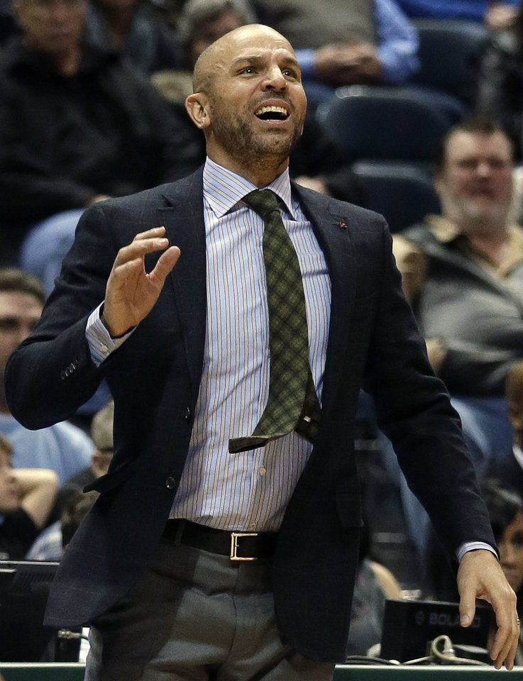 Photo - Brooklyn Nets head coach Jason Kidd reacts during the second half of an NBA basketball game against the Milwaukee Bucks Saturday, Dec. 7, 2013, in Milwaukee. (AP Photo/Morry Gash)