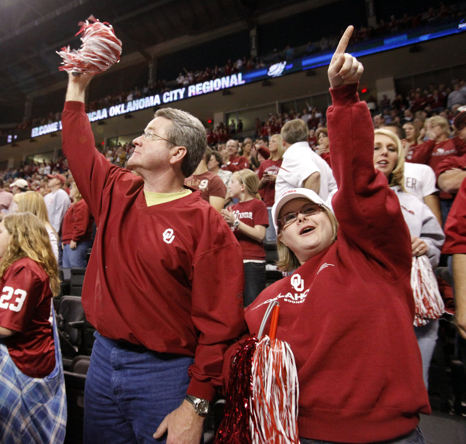 Bill Wolfe and daughter Sarah of Oklahoma City cheer for the Sooners before the start of the NCAA women\'s basketball tournament game between the University of Oklahoma and Pittsburgh at the Ford Center in Oklahoma City, Okla. on Sunday, March 29, 2009. PHOTO BY STEVE SISNEY, THE OKLAHOMAN