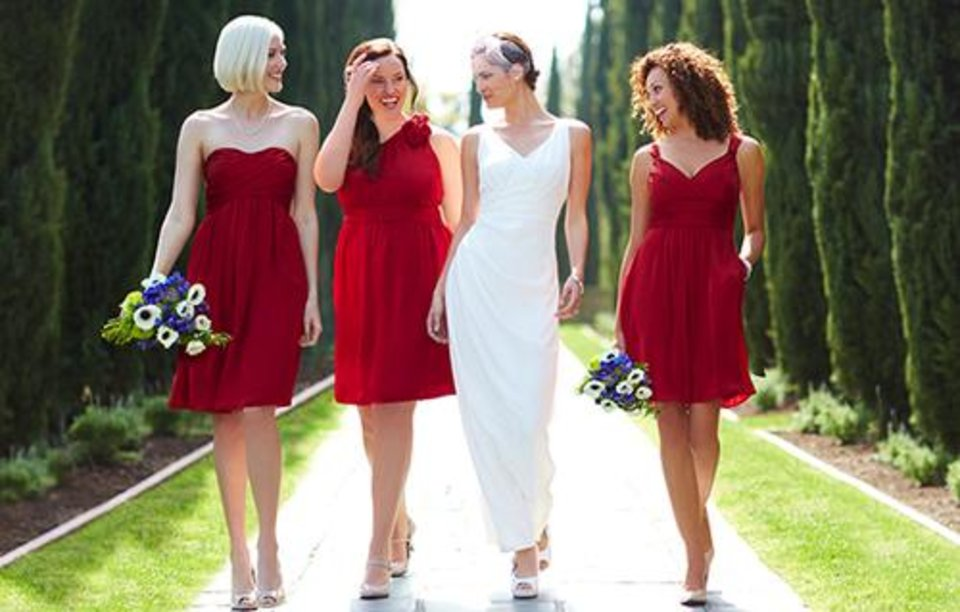 Bridal gown and bridesmaids dresses from Target.