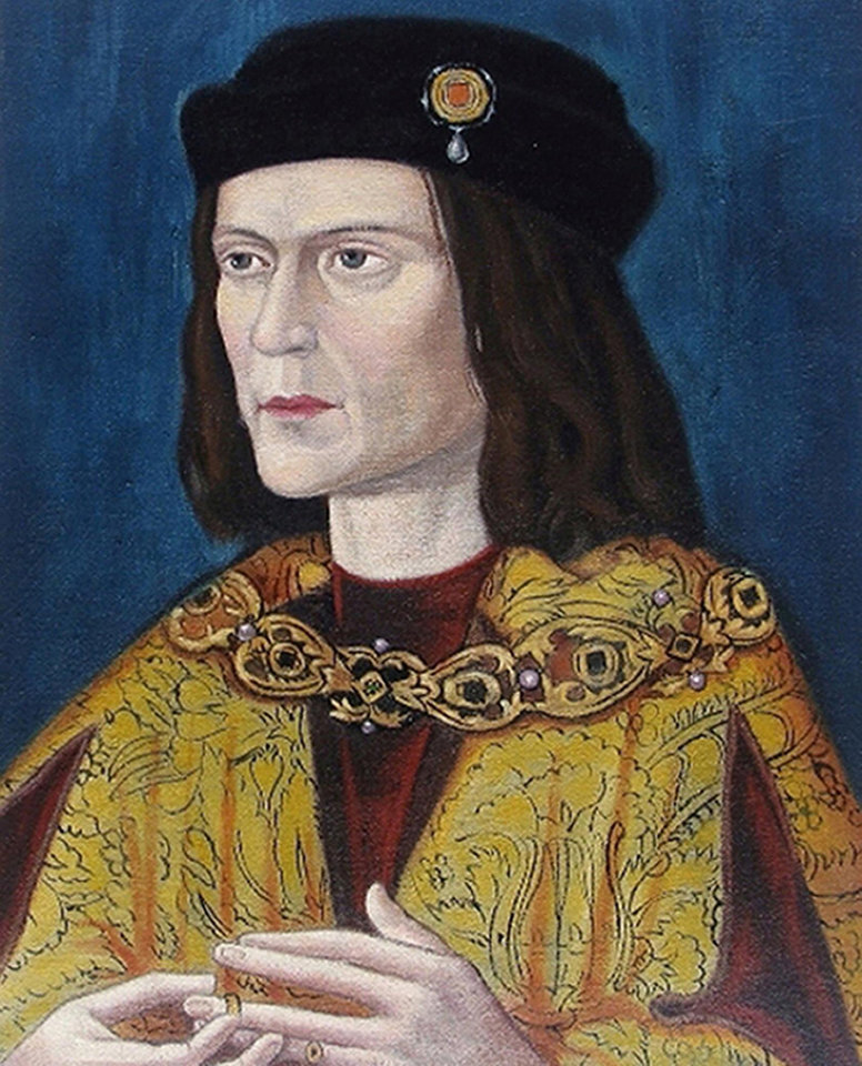 Photo - Undated photo made available by the University of Leicester, England, Monday Feb. 4, 2013 of the earliest surviving portrait of Richard III in Leicester Cathedral, ahead of an announcement about the identity of the skeleton found underneath a car park last September.  Richard was immortalized in a play by  Shakespeare as a hunchbacked usurper who left a trail of bodies — including those of his two young nephews, murdered in the Tower of London — on his way to the throne. (AP Photo/ University of Leicester)