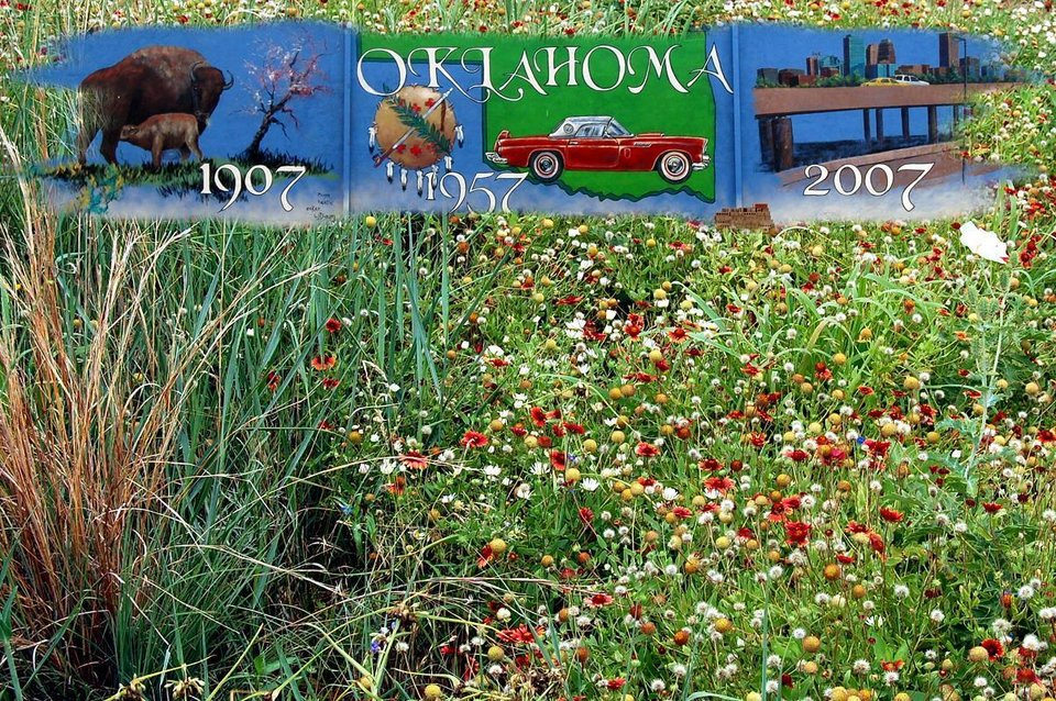 (Collage) The mural is on the side of a business in Hinton, Oklahoma, along with some roadside flowers in the area.<br/><b>Community Photo By:</b> Eldon Harris<br/><b>Submitted By:</b> Eldon, Bethany
