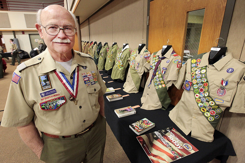 Dr. Hal Yocum  brought his collection of Boy Scout uniforms in February to an Eagle District Awards Banquet in Edmond. Photo by David McDaniel, The Oklahoman